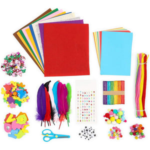 Kids Art Kit and Craft Supplies, 1000+ Pieces Foam, Pompoms, Feathers, Cardstock