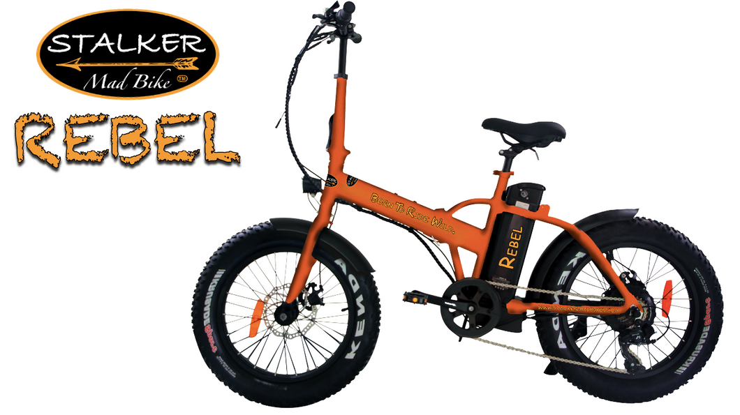 REBEL Mad Bike® - Fat Bike Électrique Pliant 500W Survival Orange - STALKER MAD BIKE