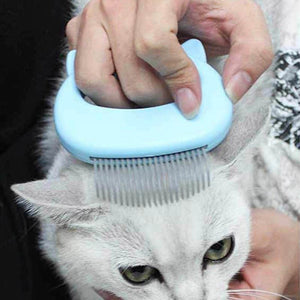 Pet Cat Grooming Massage Brush With Shell Shaped Handle