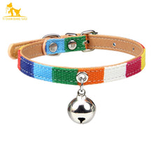 Load image into Gallery viewer, Colorful Leather Pet Collar With Bell