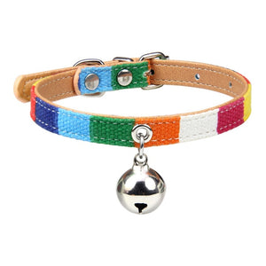 Colorful Leather Pet Collar With Bell