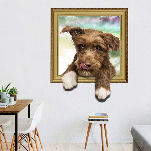 3D Cute Dog Hanging Out Of A Picture Flame Wall Sticker