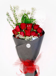 Dozen Red Rose Bouquet - Vday