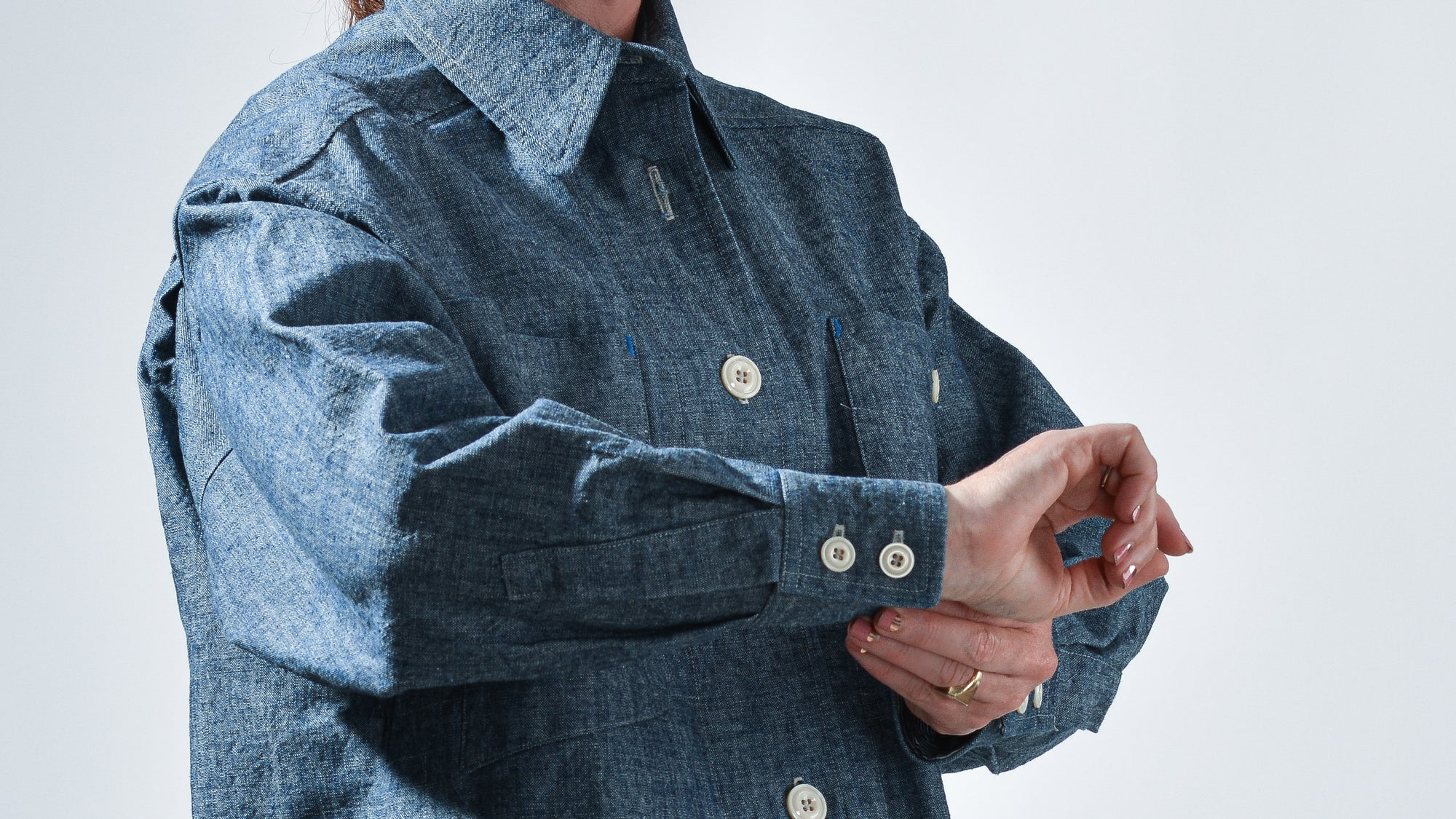 limited edition handmade cotton chambray canvas jacket with oversized fit and patch pockets