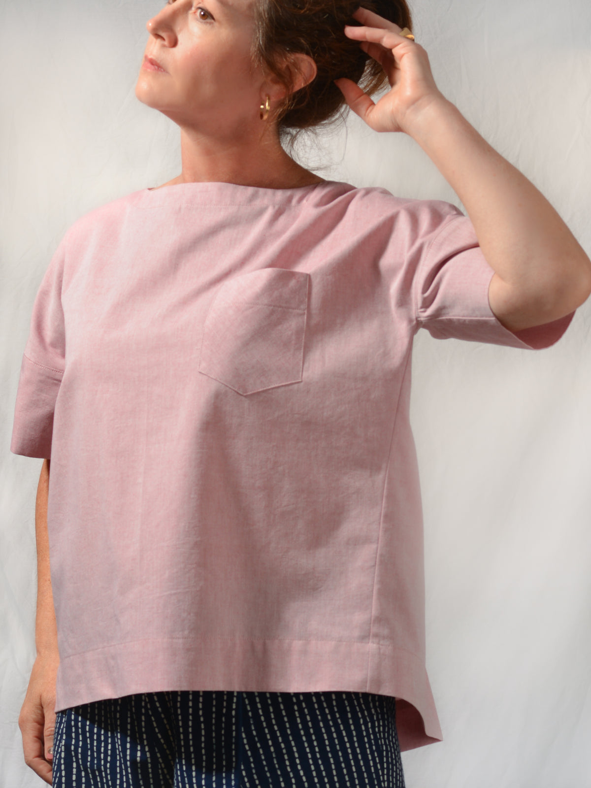 Mickie Short Sleeve Chambray Top