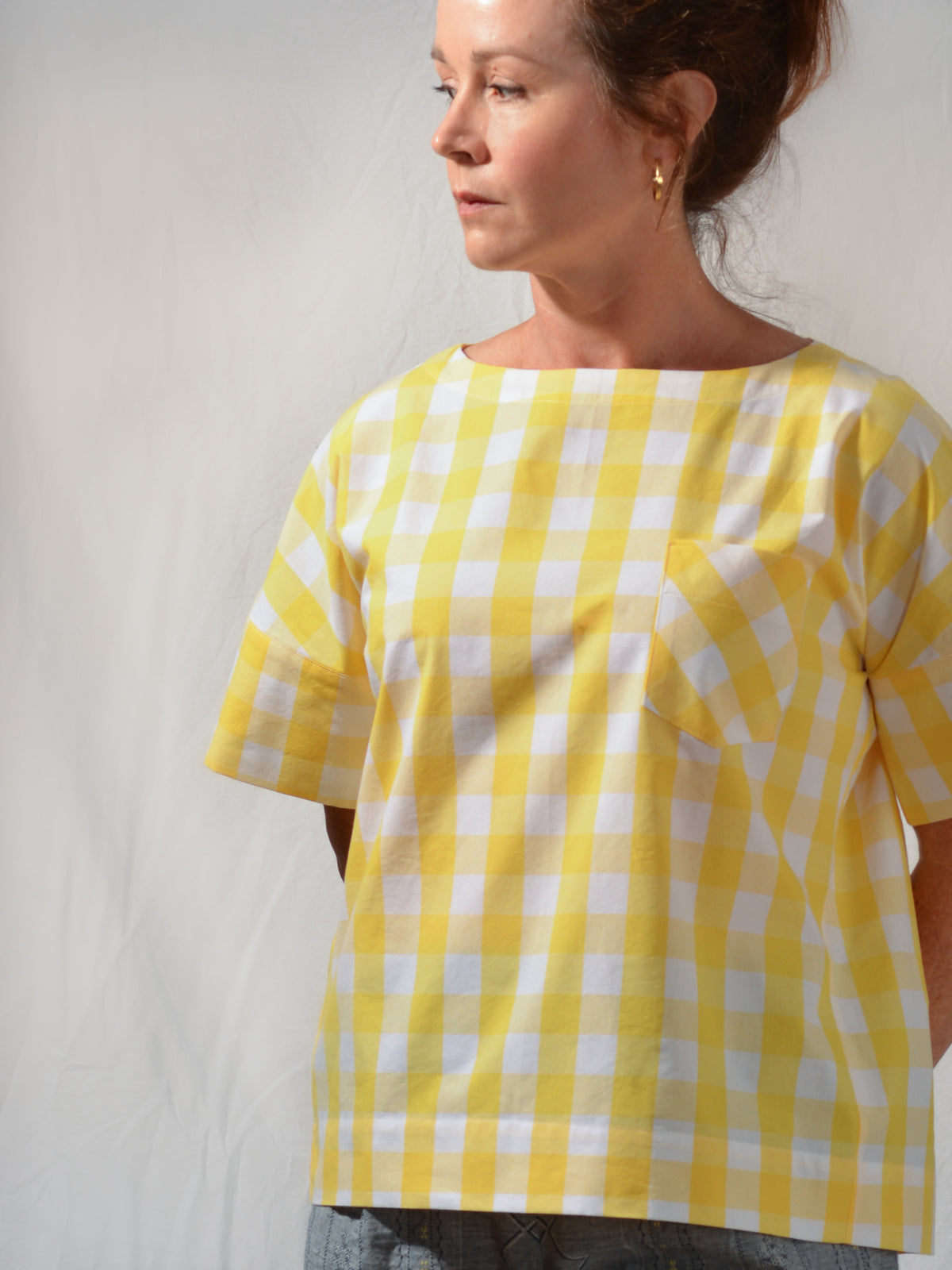 Mickie Short Sleeve Gingham Check Top
