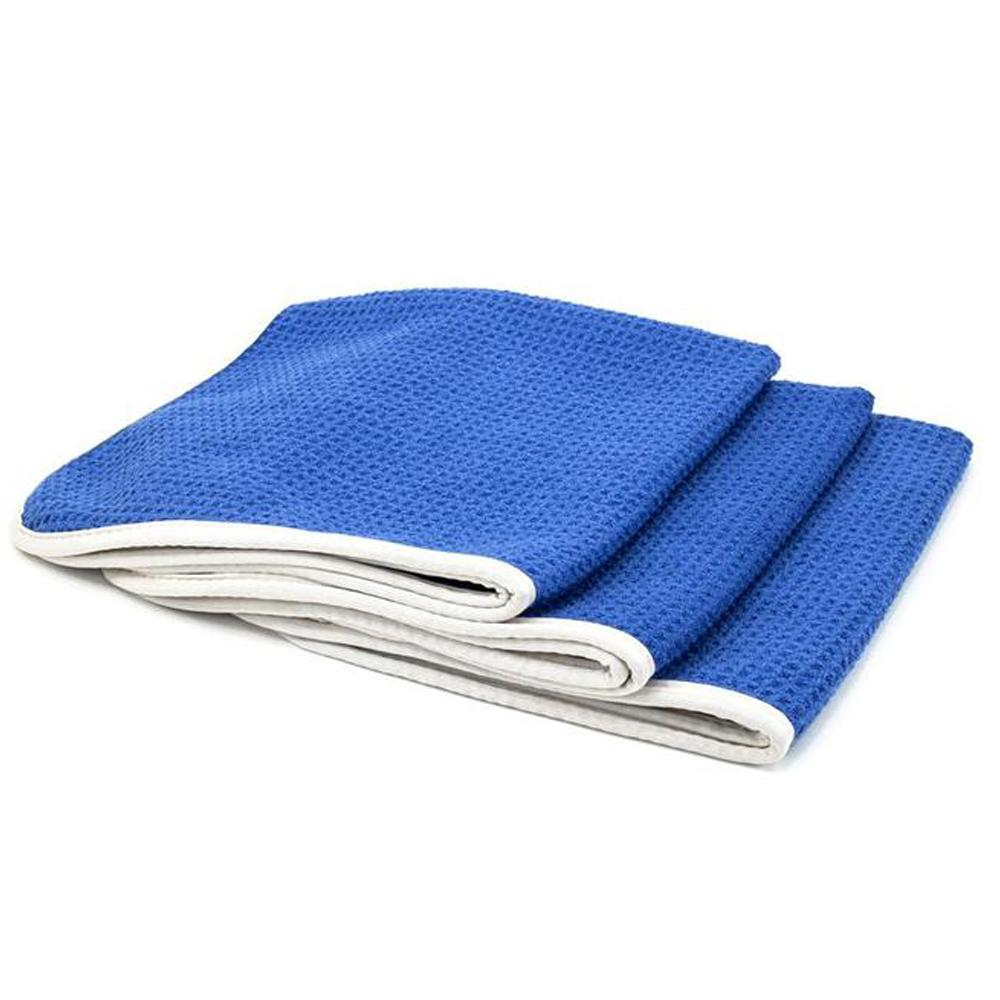 Microfiber Waffle-Weave Glass Towel (16 in. x 16 in. 400 gsm) 3 pack