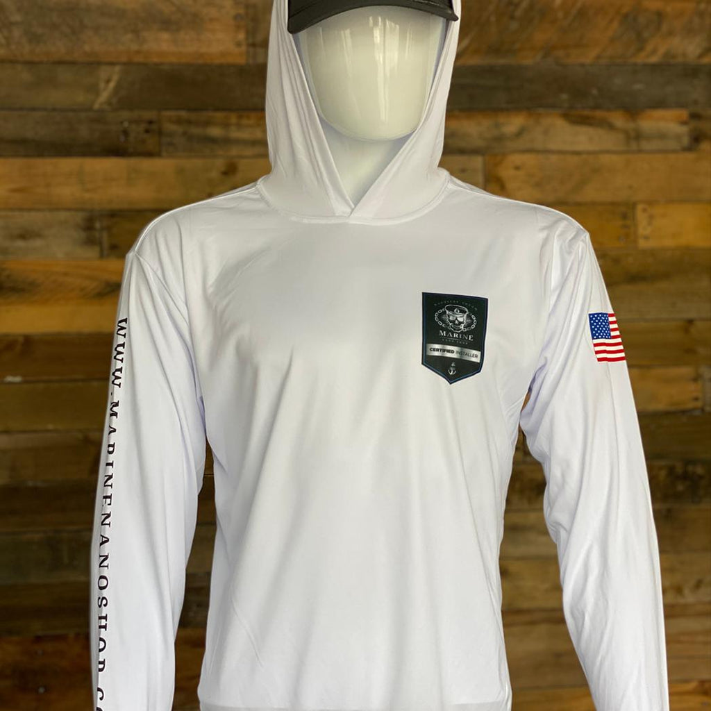 Marine Nano Shop Long Sleeve Hooded Dri Fit Shirt - Certified Installer