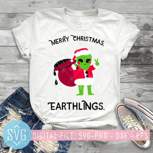 Merry Christmas Earthlings SVG, Christmas SVG,  Santa Christmas SVG, Merry Christmas SVG