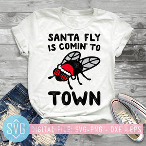 Santa Fly Is Comin's To Town SVG, Christmas SVG,  Santa Christmas SVG, Merry Christmas SVG