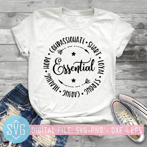 Loyal Strong Caring Healing Hope Compassionate Essential Assistant SVG, Nurselife SVG