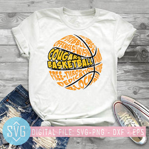 Cougar Basketball SVG, Basketball Lovers SVG, Sport SVG, NBA SVG