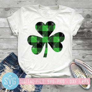 Bufalo Plaid Sham Rock SVG, Happy St Patricks Day SVG, Luck SVG, Shamrock SVG, Patrick Day SVG
