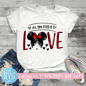 All You Need Is Love SVG, Disney Valentine SVG, Disney SVG, Minnie SVG, Valentines Day SVG, Couple SVG