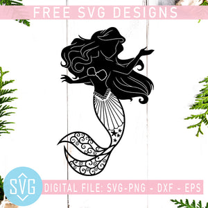 Mermaid Girl Free SVG, Mermaid Free Vector, Cute Mermaid SVG Instant Download