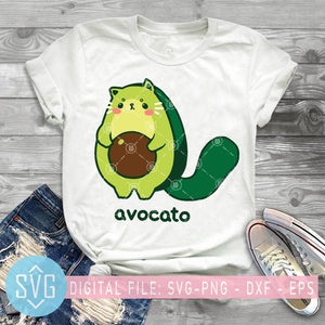 Avocado Kawaii SVG, Avocado Cat SVG, Avocado Vector, Avocado Mom SVG