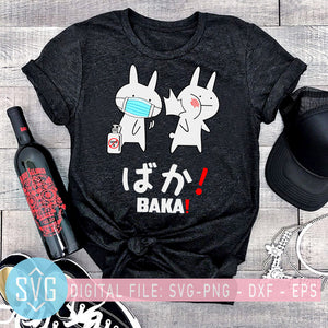 Baka Rabbit Slap Mask Covid-19 SVG, Funny Anime Rabbit SVG, Covid 19 SVG