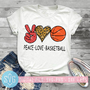 Peace Love Basketball SVG, Basketball SVG, Leopard Heart SVG