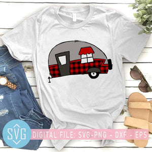 Buffalo Plaid Camping Van SVG, Happy Camping SVG, Camper SVG - SVG Trends Studio | Trendy SVG for Crafters
