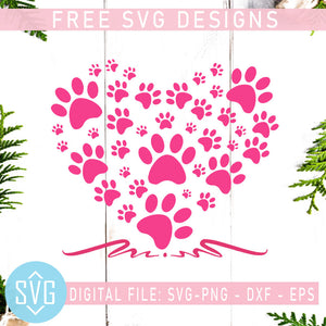 Dog Paw Heart Free SVG, Dog Love Free SVG, Dog Mom Free Vector
