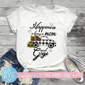 Happiness Is Being A Mom And Gigi SVG, Sunflower Truck Gigi SVG