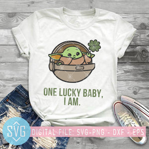 Baby Yoda SVG, One Lucky Baby I Am SVG, St. Patrick's Day SVG, Baby Yoda Irish SVG