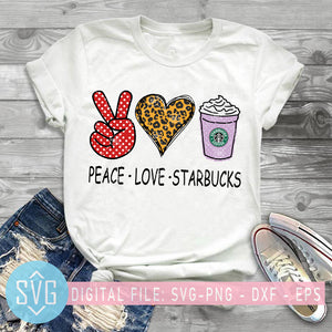 Peace Love Starbucks SVG, Coffee Lover SVG, Leopard Heart SVG