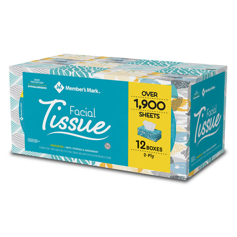 Member's Mark Facial Tissues 160 Count Case Pack 12