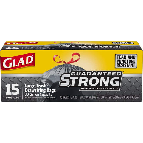 Glad 30 Gallon, 15 Count Case Pack 12