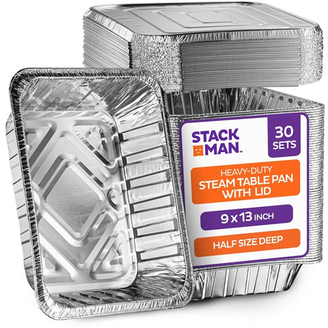 StackMan Pans With Lids Half Size Deep Combo Case Pack 30