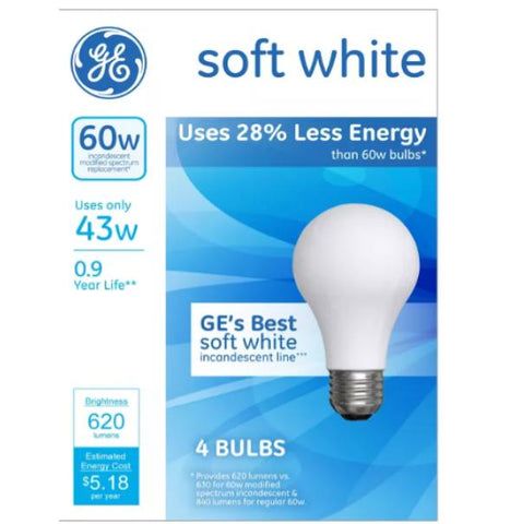 General Electric 60W 4 Count Case Pack 12