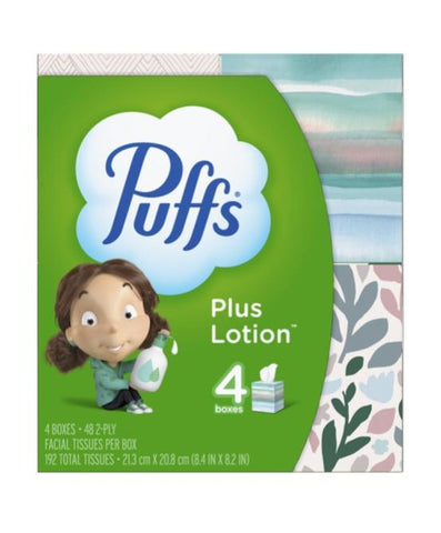 Puffs 4 Cube Boxes, 48 Facial Tissues Per Cube Case Pack 6