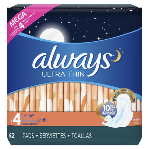 Always Thin Overnight 52 Count Case Pack 3