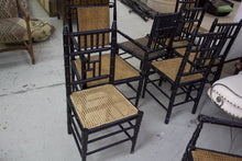 Load image into Gallery viewer, Set of 8 Black Bamboo And Cane Dining Chairs