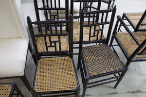 Set of 8 Black Bamboo And Cane Dining Chairs