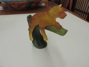 Authentic Daum France Amber Panther In Tree Signed With Box