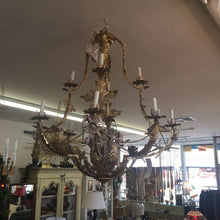 Load image into Gallery viewer, Antique Gold Gilt Candle Light Chandelier