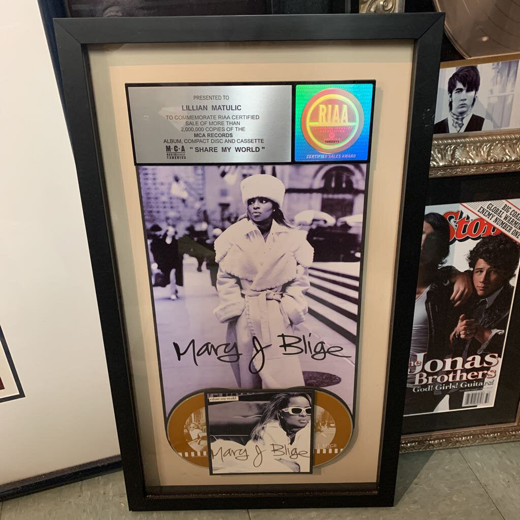 Framed RIAA Certified 2 Million Sales Mary J Blige 'Mary' CD