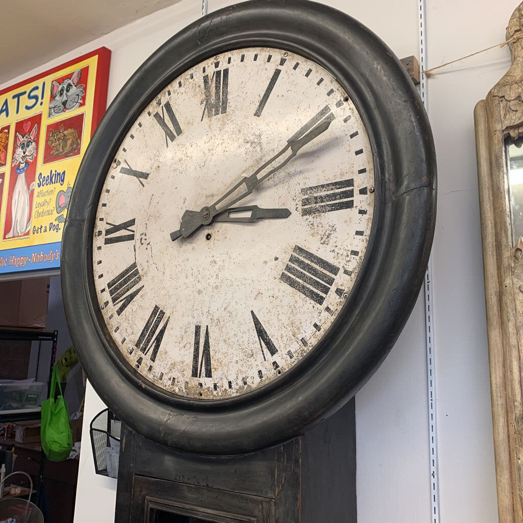 HUGE Rail-Train Antique Platform Clock 103x46x11