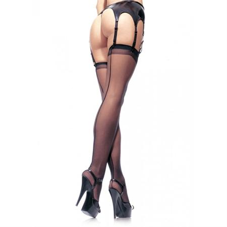 Sheer Stocking w-Backseam Plus Size in Black