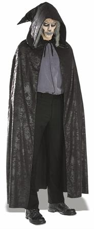 Black Distressed Suede Hooded Cape