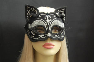 Black Cat Mask  w-Silver Trim