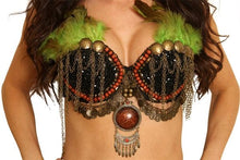 Load image into Gallery viewer, Tribal Bra w-Brass Beads & Feathers