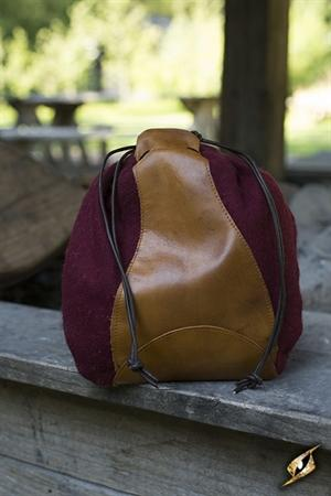 Purse Drawstring Red-Brown Leather