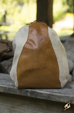 Purse Drawstring Beige-Brown Leather