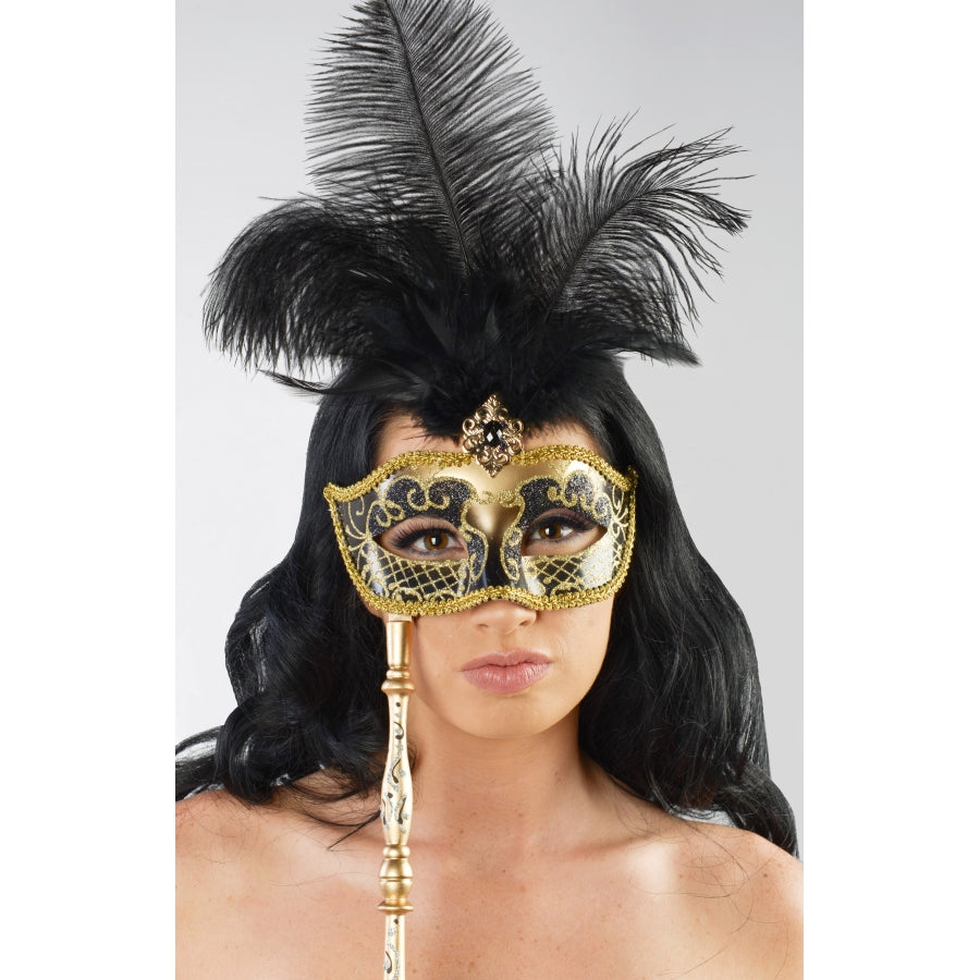 Masquerade Mask Black & gold on Stick