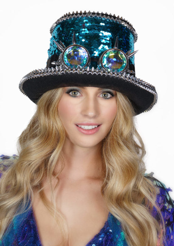 Festival Sequined Top Hat with Goggles in 3 Colors