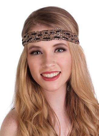 Headband Flapper Beaded BLK-Gold