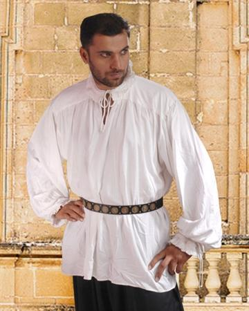 Renaissance Shirt Ruffle Neck White