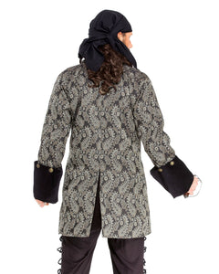 Pirate Coat Black with Gold Paisley